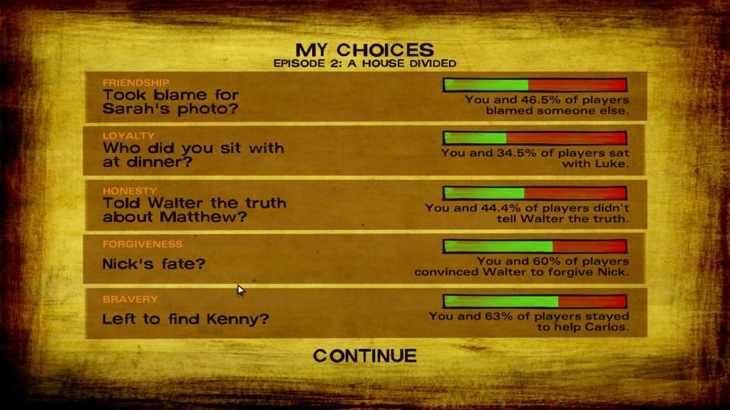 The Walking Dead Episode 2 A House divided Entscheidungen