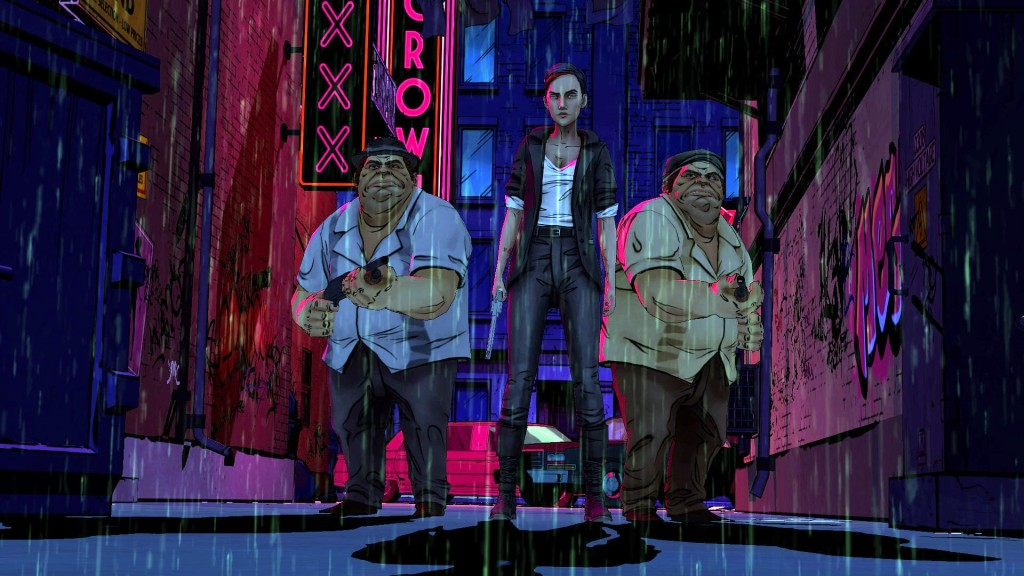Die Tweedles mit Bloody Mary, die eindrucksvoll die Bühne betritt.