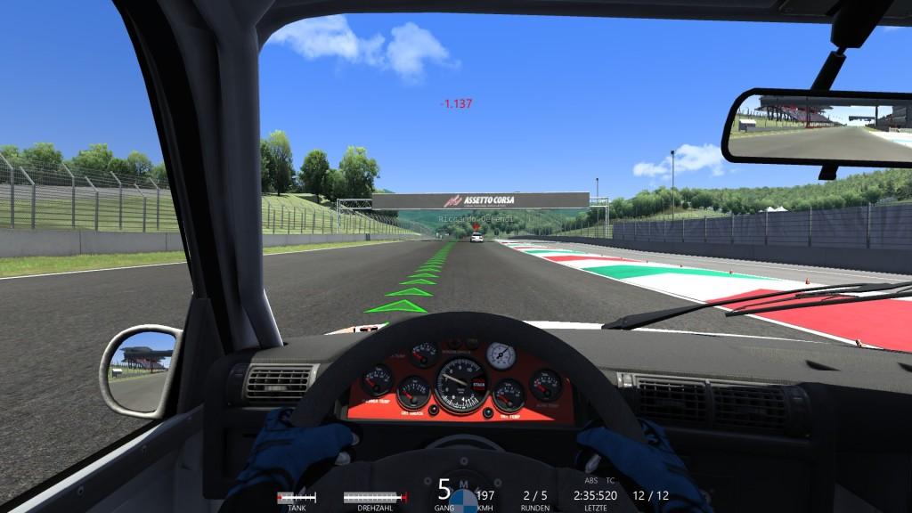In ersten Assetto Corsa-Rennen zeigten mir die BMWs aber mal ganz ordentlich die Rücklichter.