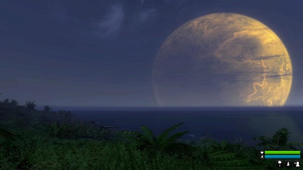 Und, wer findet den T-Rex, der vor dem größeren der beiden Monde seine Runde dreht?