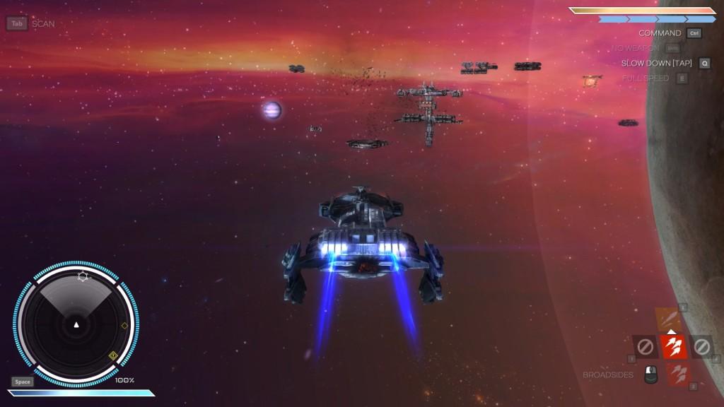 Auf dem Weg zur Basis in Rebel Galaxy.